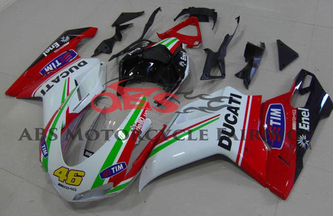 White, Red & Green #46 Fairing Kit for a 2007, 2008, 2009, 2010, 2011 & 2012 Ducati 1098 motorcycle