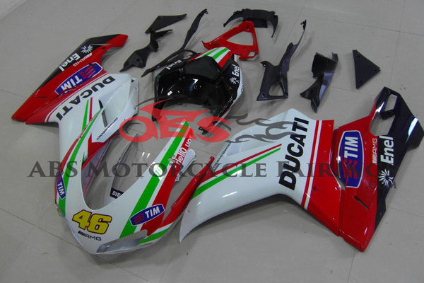 White, Red & Green #46 Fairing Kit for a 2007, 2008, 2009, 2010, 2011 & 2012 Ducati 848 motorcycle