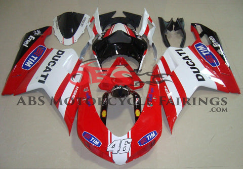 Red, White & Black Tim #46 Fairing Kit for a 2007, 2008, 2009, 2010, 2011 & 2012 Ducati 1098 motorcycle