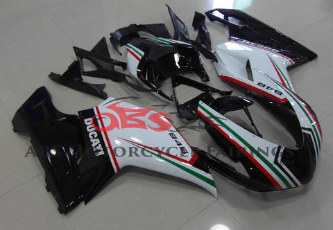 Black, White, Red and Green Fairing Kit for a 2007, 2008, 2009, 2010, 2011 & 2012 Ducati 1098 motorcycle
