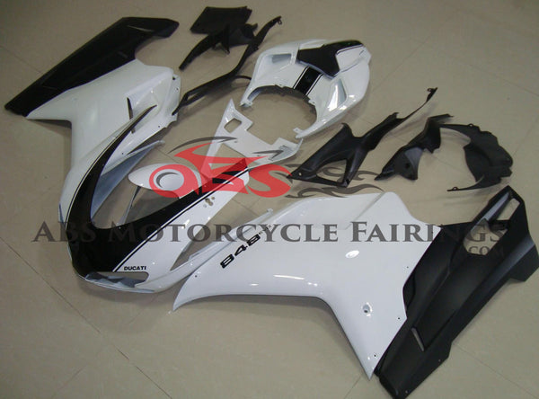 White & Black Striped Fairing Kit for a 2007, 2008, 2009, 2010, 2011 & 2012 Ducati 848 motorcycle