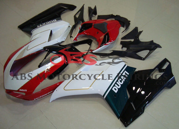 Red, White, Green, Black & Gold Fairing Kit for a 2007, 2008, 2009, 2010, 2011 & 2012 Ducati 1098 motorcycle