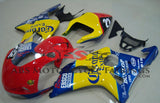 Red, Yellow and Blue Corona Race Fairing Kit for a 2000, 2001 & 2002 Suzuki GSX-R1000 motorcycle.