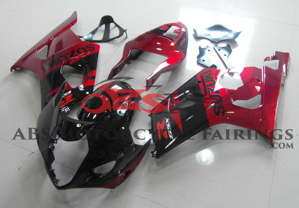 Black and Candy Apple Red Fairing Kit for a 2003 & 2004 Suzuki GSX-R1000 motorcycle.