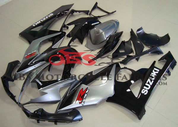 Silver and Black Fairing Kit for a 2005 & 2006 Suzuki GSX-R1000 motorcycle