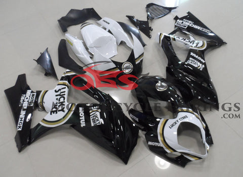 Black and White Lucky Strike Fairing Kit for a 2007 & 2008 Suzuki GSX-R1000 motorcycle