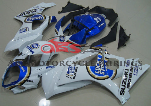 White and Blue Lucky Strike Fairing Kit for a 2007 & 2008 Suzuki GSX-R1000 motorcycle