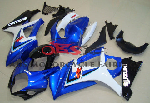 Blue, White and Black Fairing Kit for a 2007 & 2008 Suzuki GSX-R1000 motorcycle