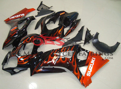 Black and Orange Flame Fairing Kit for a 2007 & 2008 Suzuki GSX-R1000 motorcycle