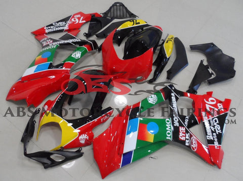 Red, Green and Yellow Jomo Fairing Kit for a 2007 & 2008 Suzuki GSX-R1000 motorcycle