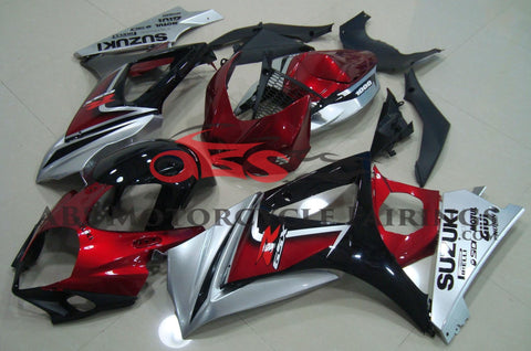 Candy Apple Red, Silver and Black Fairing Kit for a 2007 & 2008 Suzuki GSX-R1000 motorcycle