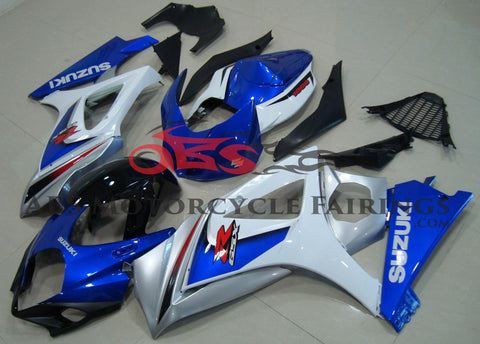 Blue and White Fairing Kit for a 2007 & 2008 Suzuki GSX-R1000 motorcycle
