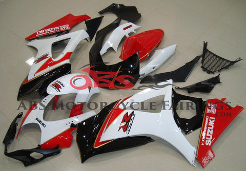 White, Red and Black Fairing Kit for a 2007 & 2008 Suzuki GSX-R1000 motorcycle
