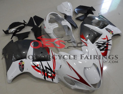 White, Gray & Candy Apple Red Fairing Kit for a 1999, 2000, 2001, 2002, 2003, 2004, 2005, 2006, & 2007 Suzuki GSX-R1300 Hayabusa motorcycle
