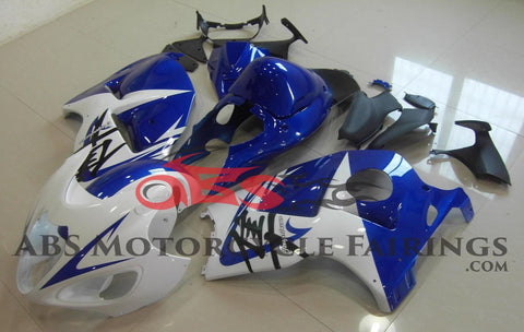 White and Blue Fairing Kit for a 1999, 2000, 2001, 2002, 2003, 2004, 2005, 2006, & 2007 Suzuki GSX-R1300 Hayabusa motorcycle