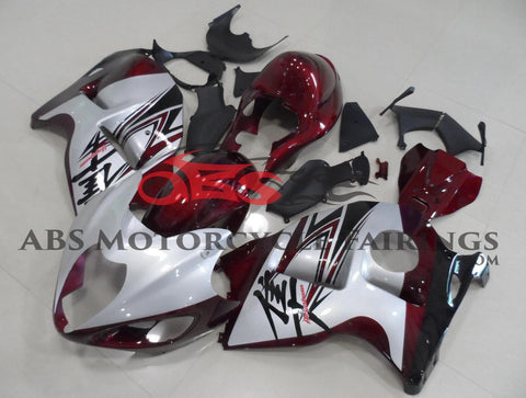 Maroon and Silver Fairing Kit for a 1999, 2000, 2001, 2002, 2003, 2004, 2005, 2006, & 2007 Suzuki GSX-R1300 Hayabusa motorcycle