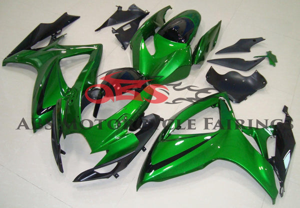 Green and Black Fairing Kit for a 2006 & 2007 Suzuki GSX-R600 motorcycle