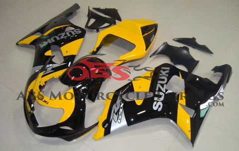 Black and Yellow Fairing Kit for a 2000, 2001, 2002 & 2003 Suzuki GSX-R750 motorcycle