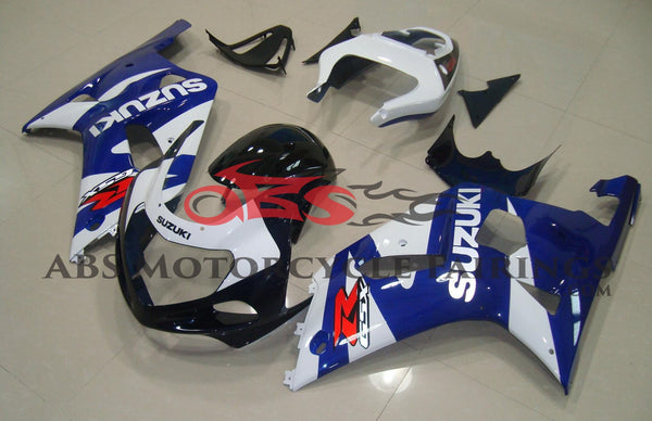 Blue, White and Black Fairing Kit for a 2000, 2001, 2002 & 2003 Suzuki GSX-R750 motorcycle