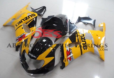 Dark Yellow and Black Fairing Kit for a 2000, 2001, 2002 & 2003 Suzuki GSX-R750 motorcycle.