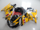 Yellow and Black Fairing Kit for a 2000, 2001, 2002 & 2003 Suzuki GSX-R600 motorcycle