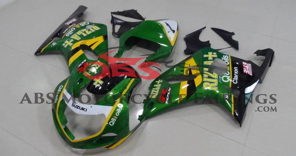 Green Rizla Fairing Kit for a 2000, 2001, 2002 & 2003 Suzuki GSX-R750 motorcycle