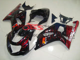 Black and Candy Apple Red Flame Fairing Kit for a 2000, 2001, 2002 & 2003 Suzuki GSX-R750 motorcycle