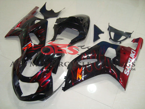 Suzuki GSXR750 (2000-2003) Black & Candy Apple Red Flame Fairings