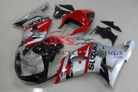 Silver, Red and Black Fairing Kit for a 2000, 2001, 2002 & 2003 Suzuki GSX-R750 motorcycle.