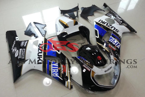 Black, White, Blue and Gold VIRU Fairing Kit for a 2000, 2001, 2002 & 2003 Suzuki GSX-R750 motorcycle