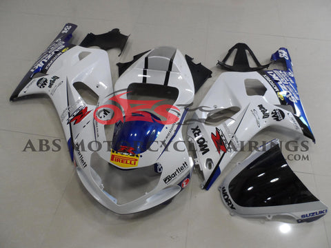 White WORX Fairing Kit for a 2000, 2001, 2002 & 2003 Suzuki GSX-R750 motorcycle
