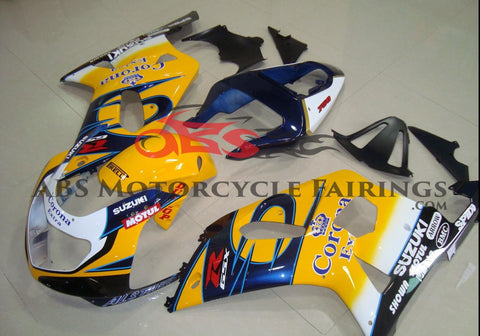 Suzuki GSXR600 (2000-2003) Yellow, Dark Blue & White Corona Fairings