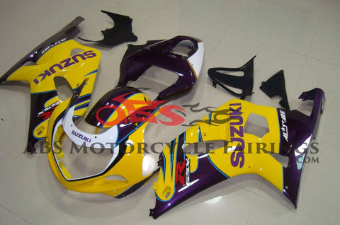Yellow, Purple and White Fairing Kit for a 2000, 2001, 2002 & 2003 Suzuki GSX-R750 motorcycle