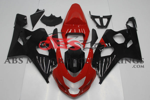 Red and Black Fairing Kit for a 2004 & 2005 Suzuki GSX-R600 motorcycle