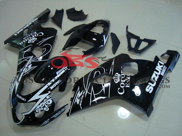 SUZUKI GSXR750 (2004-2005) BLACK & WHITE CORONA FAIRINGS