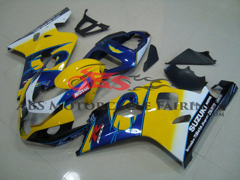 Yellow and Blue Fairing Kit for a 2004 & 2005 Suzuki GSX-R600 motorcycle