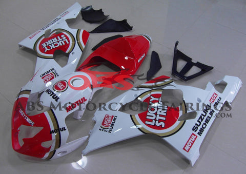 White and Red Lucky Strike Fairing Kit for a 2004 & 2005 Suzuki GSX-R600 motorcycle