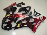 Black and Candy Apple Red Flame Fairing Kit for a 2004 & 2005 Suzuki GSX-R600 motorcycle