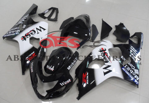 Black and White West Fairing Kit for a 2004 & 2005 Suzuki GSX-R600 motorcycle