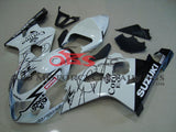 White and Black Corona Fairing Kit for a 2004 & 2005 Suzuki GSX-R750 motorcycle