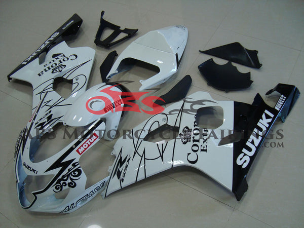 SUZUKI GSXR750 (2004-2005) WHITE & BLACK CORONA FAIRINGS