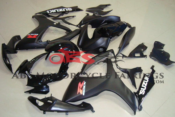 Matte Black and Gloss Black Fairing Kit for a 2006 & 2007 Suzuki GSX-R600 motorcycle