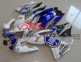 White and Blue Lucky Strike Fairing Kit for a 2006 & 2007 Suzuki GSX-R600 motorcycle
