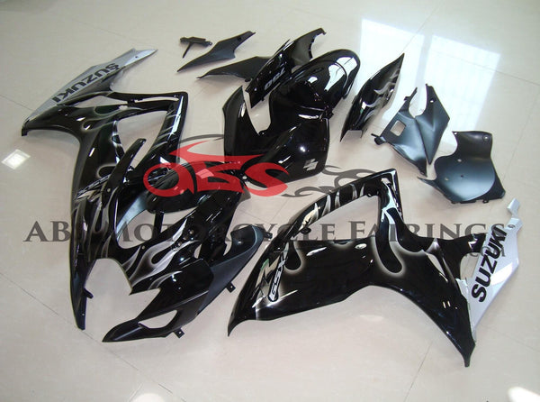 Black with Silver Flame 2006-2007 Suzuki GSXR600