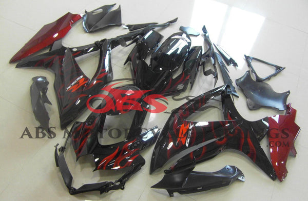 Black and Candy Apple Red Flame Fairing Kit for a 2008, 2009, & 2010 Suzuki GSX-R600 motorcycle