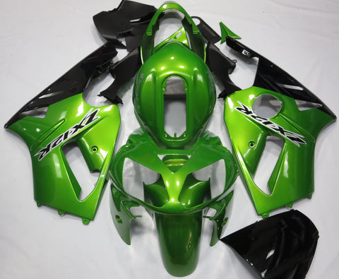 Green & Black Fairing Kit for Kawasaki ZX-12R 2002, 2003, 2004, 2005, 2006 motorcycles with Black & White Decals