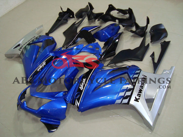 Blue, Black and Silver Fairing Kit for a 2008, 2009, 2010, 2011, 2012, & 2013 Kawasaki Ninja 250R motorcycle