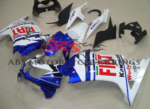 Blue, White and Red FIAT Fairing Kit for a 2008, 2009, 2010, 2011, 2012, & 2013 Kawasaki Ninja 250R motorcycle