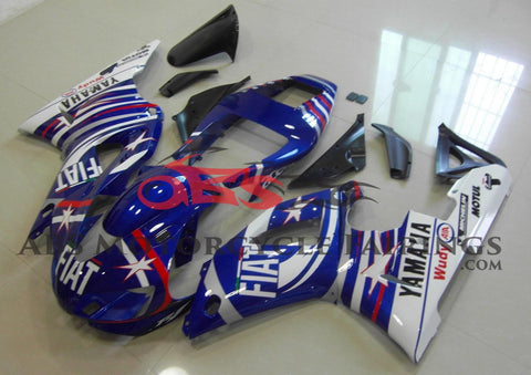 Blue, Red and White Star Fairing Kit for a 1998 & 1999 Yamaha YZF-R1 motorcycle