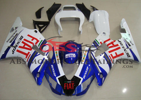 Blue, White and Red FIAT Fairing Kit for a 1998 & 1999 Yamaha YZF-R1 motorcycle